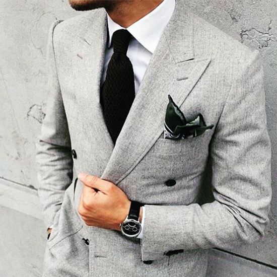Picture of Double-breasted light grey two-piece suit