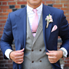 Picture of Navy blue suit with black and white dogtooth waistcoat