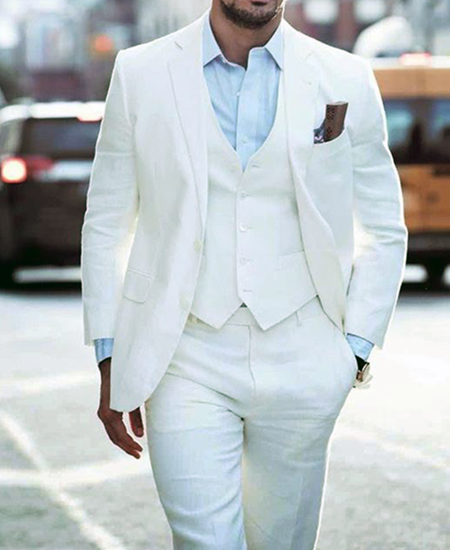 Picture of Slim fit white three-piece suit