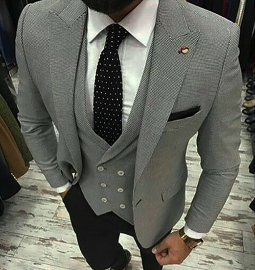 Picture of Grey Jacket and Waistcoat with Black Trousers