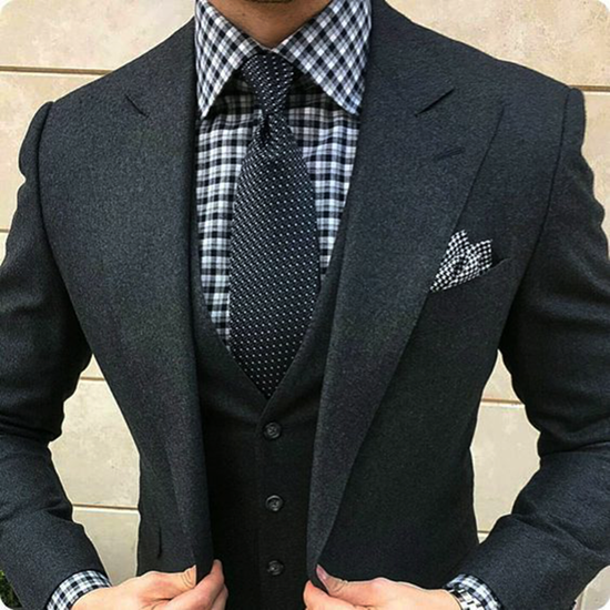 Picture of Charcoal Grey jacket and trousers with dark grey waistcoat