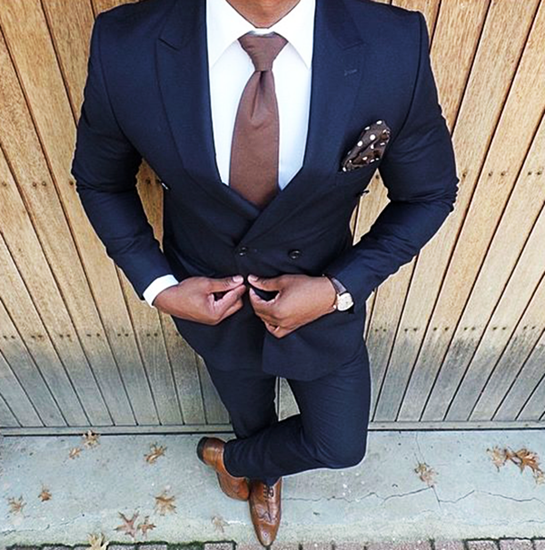 Picture of Skinny fit navy blue two-piece suit