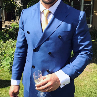Picture of Blue double-breasted two-piece suit