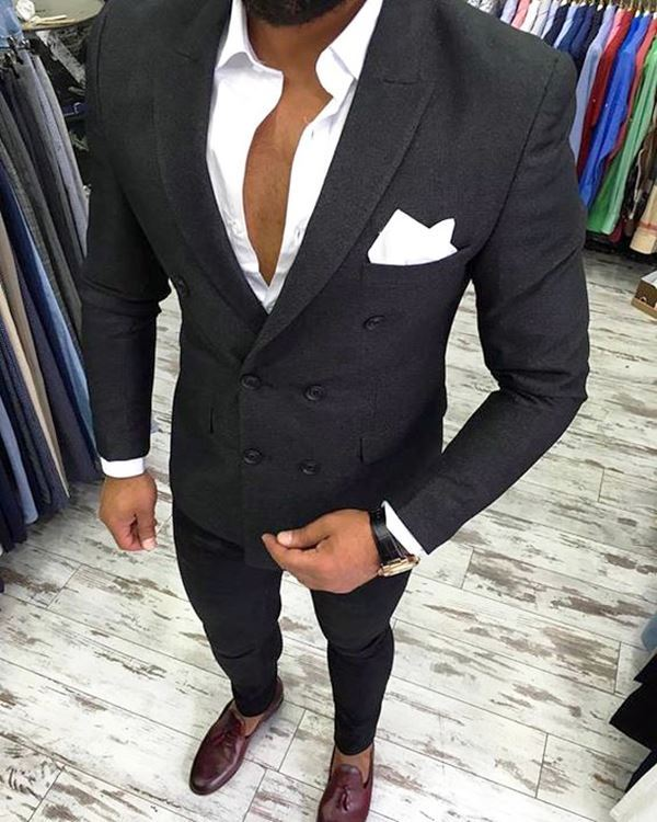 Picture of Skinny fit black two-piece suit