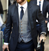 Picture of Slim fit navy blue suit with grey waistcoat