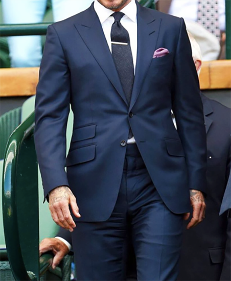 Picture of Single breasted navy blue two-piece suit