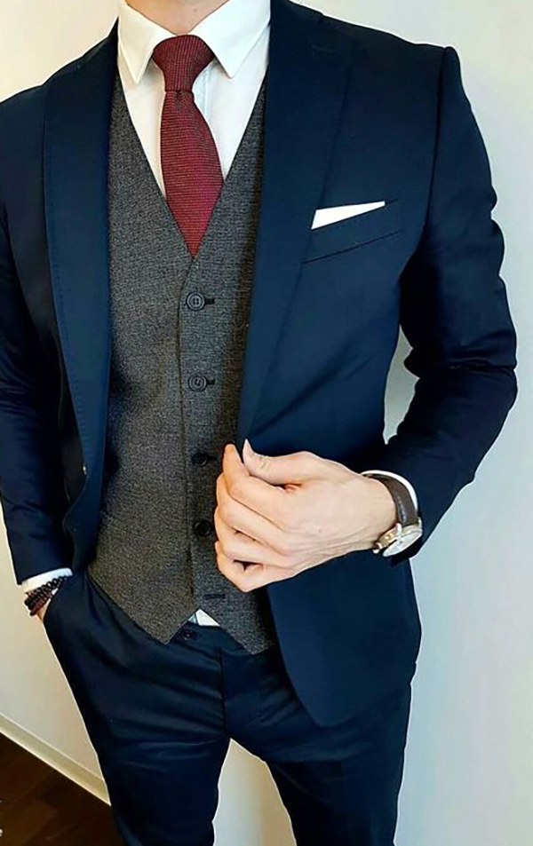Picture of Navy three-piece suit with grey waistcoat