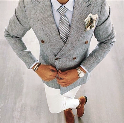 Picture of Double-breasted Blazer with White Trousers
