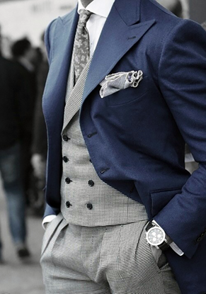 Picture of Dogtooth Suit with Navy Jacket