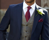Picture of Blue Jacket and Trousers with Tweed-effect Waistcoat