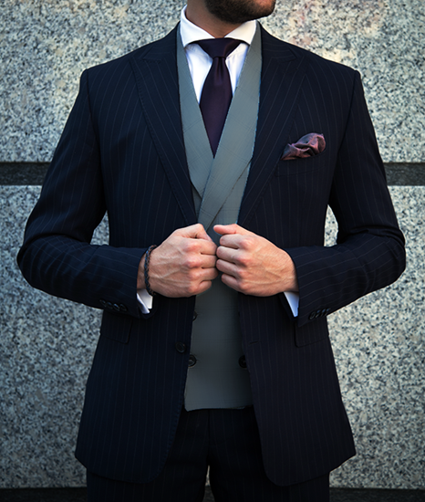 Picture of Navy Pinstripe Jacket with Grey Waistcoat