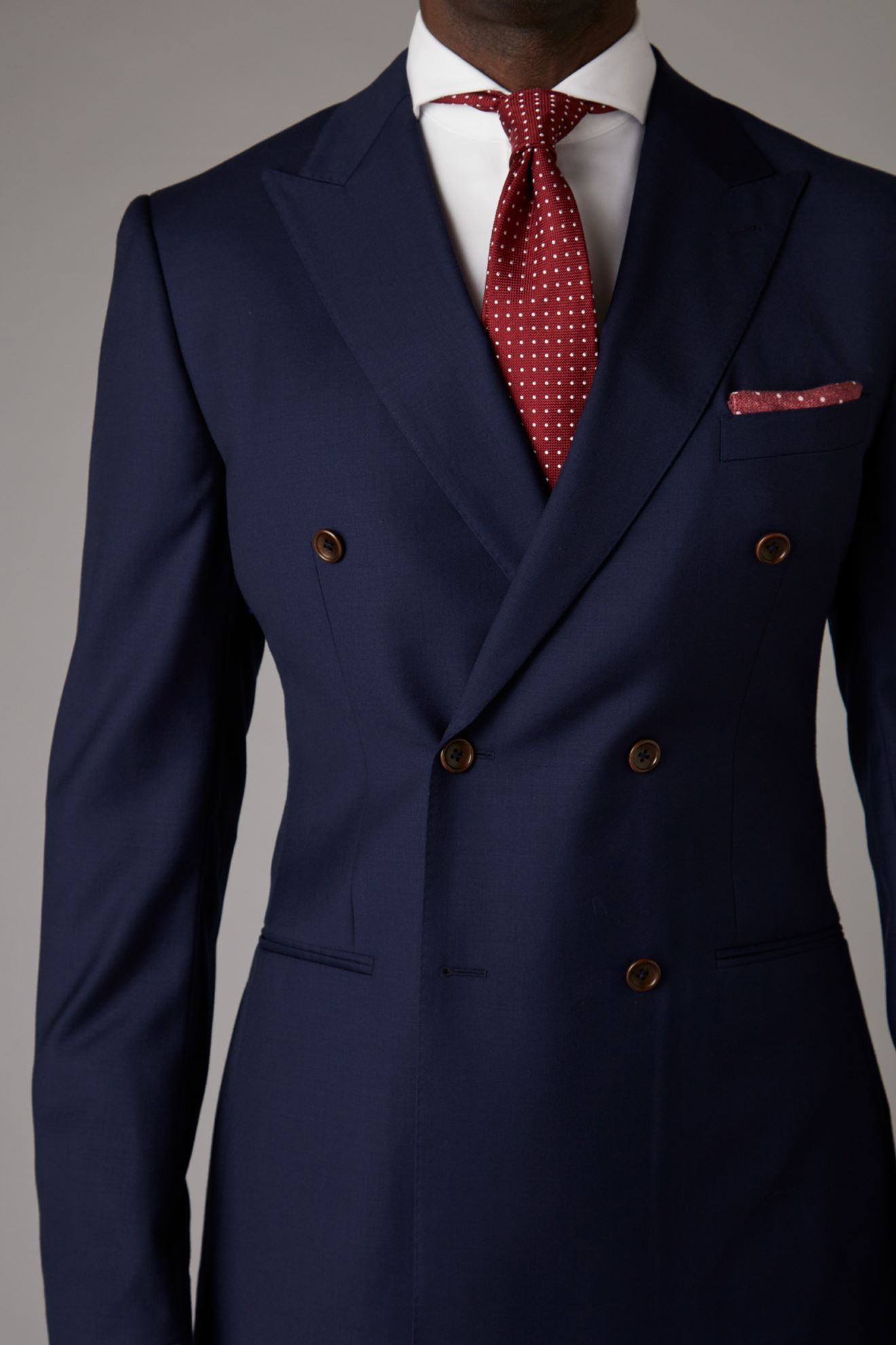 Picture of Double-Breasted Dark Navy Blue Two-Piece Suit
