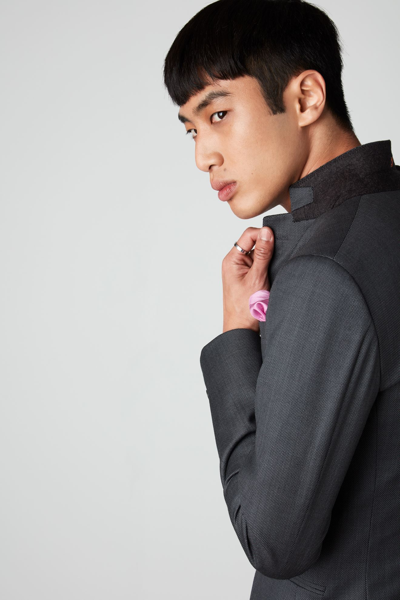 detail shot (collar, pocket square etc) on jacket