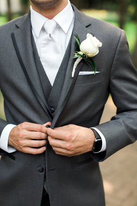 Picture of Grey single breasted three piece suit