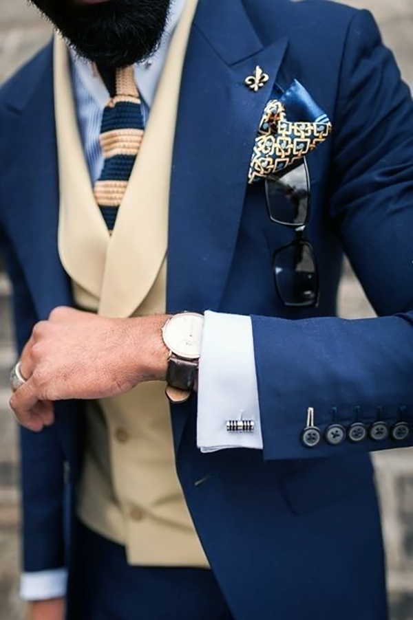 Picture of Light Beige and Blue Three Piece Suit