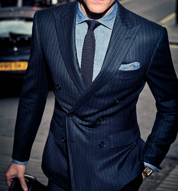 Picture of Double-breasted navy pin-stripe two-piece suit